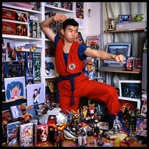 KOICHI NAKAYASU (33) is buying and selling items of his collection so it also  serves like his business. Also has a part time job in a call center. Toys from Japanese anime and live action TV shows for kids (Power Rangers, 70's movies super-robot anime like Gundum), soundtrack CDs, printed matters and video games.Started collecting 8 years ago. His collection is worth the price of a decent car, about 17000 dollars. Has about 200 toys.