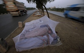 Vehicles move past Pakistan daily workers, sleeping under a mosquito net, in the middle of a street on the outskirts of Islamabad, Pakistan, Wednesday, June 8, 2011. (AP Photo/Muhammed Muheisen)