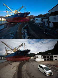In this composite image, a car drives past a ship called Asia Symphony that was left stranded prior to the sixth month anniversary of the March 11 earthquake and massive tsunami on September 10, 2011 in Kamaishi, Iwate Prefecture, Japan. (Top Photo) Local residents walk past the Asia Symphony, which has been left stranded after being lifted up onto the promenade of the docks March 24, 2011 in Kamaishi, Iwate Prefecture, Japan. A 9.0 magnitude strong earthquake struck Japan offshore on March 11 at 2:46pm local time, triggering a tsunami wave of up to ten metres which engulfed large parts of north-eastern Japan and also damaging the Fukushima nuclear plant, causing the worst nuclear crisis in decades. The current number of dead and missing is reportedly estimated to be 22,900. (Photo by Athit Perawongmetha/Getty Images)