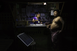 Nyi Min Htut (46) & Cho Cho Win (40) are married and own a bettle-nut shop powered by solar light. Minglar Don Township, 20 km north of Yangon.