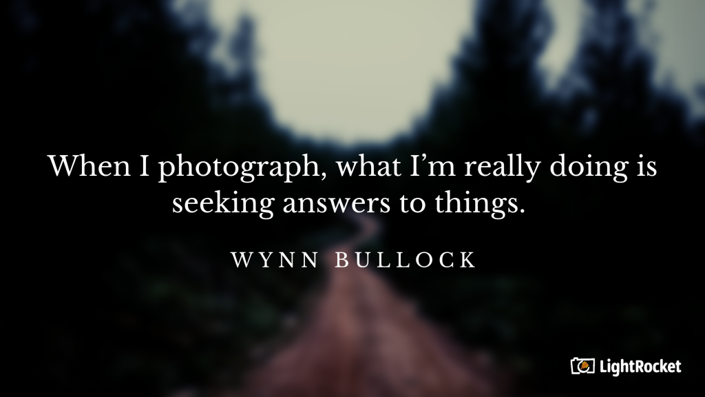 "Photography inspiration quote with: ""When I photograph, what I'm really doing is seeking answers to things."" – Wynn Bullock"