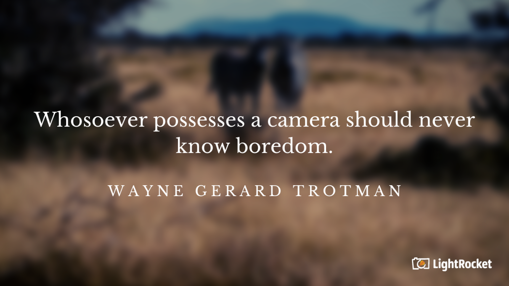 "Photography inspiration quote with: ""Whosoever possesses a camera should never know boredom."" - Wayne Gerard Trotman"