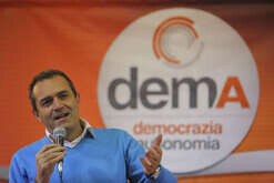 A moment during the presentation of the new political party DEMA. The party president will be mayor of Naples Luigi De Magistris