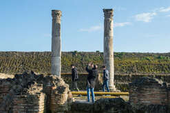 Tourists among the finds of the excavations of Sybaris after the inauguration of Sybaris Archaeological Park and its museum, in southern Italy, which took place in the presence of Secretary of State Dorina Bianchi, President of Calabria Region Mario Oliverio and the Mayor of Cassano allo Ionio Gianni Papasso.