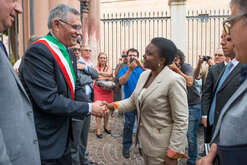 Cecile Kyenge, Minister for Integration, and Mayor of Corigliano Giuseppe Geraci during an institutional visit to Corigliano Calabro, Cecile Kyenge is very related to Calabria as her husband is native to this region. Today Cecile Kyenge is a European Member. She was the first Afro-Italian minister in Italy.
