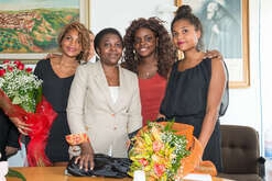 From left, Giulia, daughter of Minister Kyenge, Minister Cecile Kyenge, her grandson (with red dress) and the second daughter Maisha, during an institutional visit to Tarsia. Cecile Kyenge is very related to Calabria as her husband is native to this region. Her husband was born in Tarsia. Today Cecile Kyenge is a European Member. She was the first Afro-Italian minister in Italy.