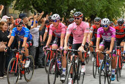 The start of the stage with Patrick Dempsey (USA) Film and TV Actor, special guest, with the current pink jersey and leader Bob Jungels (LUX), during the event for the start of the seventh stage of the 100th Giro d'Italia, Tour of Italy, from Castrovillari to Alberobello.
