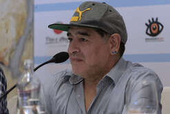 Argentinian former football player Diego Armando Maradona attends a press conference the day prior a ceremony to receive the honorary citizenship of Naples.
