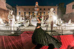 A model during the parade of Dolce and Gabbana in Pretoria Square in Palermo, Sicily, southern Italy.