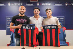 Presentation of the 2 new purchases of FC Crotone, Serie A championship, Arlind Ajeti defender and Giovanni Crociata midfielder, center Raffaele Vrenna, manager.
