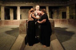 "Italian actors perform ""Nerone and the Empresses"" inside Poppea' Villa in Oplonti, near Pompeii, during theatre festival called Campania by Night. Poppea' Villa was cover by dust during Vesuvius Volcan eruption on 73 B.C. and discovered around the middle of 1700"