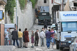 One of the local extras featuring locals in Civita, Calabria, on the second set of Danny Boyle's Trust movie, with Donald Sutherland and Hilary Swank in the cast selected by Robert De Niro.