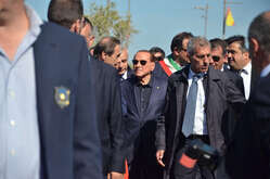 Silvio Berlusconi visits the red zone of the area affected by the earthquake in Ischia, southern Italy, before the convention of Forza Italia.