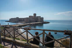 A view of the Aragonese Castle of Le Castella, in Calabria, southern Italy. An important tourist destination of Calabria visited every year by thousands of people.