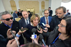 Beatrice Lorenzin, Minister of Health, with journalists during a health press conference in Calabria, southern Italy.