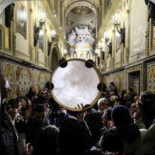 People dance during the  Candelora festival at Montevergine Sanctuary in Ospidaletto d'Alpinolo a little village in the south of Italy. The Sanctuary was built in honour of Madonna Schiavona today the protector of the LGBT movement. Every year many traditional music bands play and sing as form of worship to Madonna