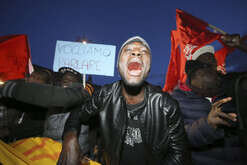 Immigrants protest against racism and violence in front of the Prefecture at Plebiscito Square, because a man named Luca Traini fired at African immigrants in Macerata on February 04.