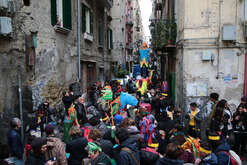 Carnival parade in Quartieri Spagnoli, neighborhood of downtown Naples. The parade was organized by social associations who work with  young peolple and children against racism, crime and juvenile violence, teaching art and handicraft.