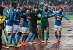 From left to right: Napoli's Spanish defender Raul Albiol,Napoli's French defender Kalidou Koulibaly, Napoli's Italian striker Lorenzo Insigne, Napoli's Spanish striker Jose Maria Callejon, Napoli's Spanish goalkeeper Pepe Reina,Napoli's Belgian striker Dries Mertens celebrate at the end of the Italian Serie A football match SSC Napoli vs SPAL 2013 at the San Paolo Stadium. SSC Napoli won the match 1-0.