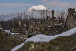 A snow fall covered Pompeii, the archaeological site where are the ruins of the ancient Roman town buried by the eruption of Vesuvius Volcano on 79 AD. Civil protection ordere to not open the area to tourists because heavy snowfall. A cold wave has hit Italy with snowfalls and low temperatures.