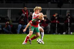 A game action between Dusan Basta of Serbia and Nordin Amrabat of Morocco, during the friendly match between Morocco vs Serbia, played in Turin. Morocco won 2-1