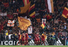 Roma's players celebrate at the end of the UEFA Champions League quarterfinal second leg football match AS Roma vs FC Barcelona. AS Roma won the match 3-0.