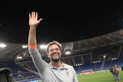 Liverpool's German coach Jurgen Klopp celebrate at the end of the UEFA Champions League semifinal second leg football match AS Roma vs Liverpool FC at the Olimpico Stadium. AS Roma won 4-2 but Liverpool FC is qualified for the final  with 7-6 aggregate result.