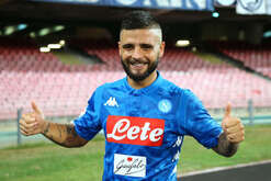 Napoli's striker from Italy Lorenzo Insigne celebrate at the end of the Italian Serie A football match SSC Napoli vs Fiorentina ACF on September 15 2018 at the San Paolo Stadium. SSC Napoli won the match 1-0.