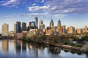 City skyline and Schuylkill River.