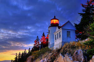 Bass Harbor Lighthouse at sunset.