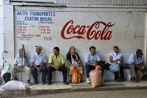 Costa Rica, Town Of Upala, Street Scene, Bus Station, People Waiting For Bus, Coca Cola Advertisement.