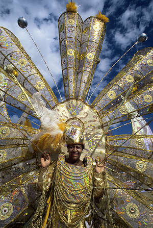 Trinidad, Port Of Spain, Carnival, Parade, Woman With Costume.