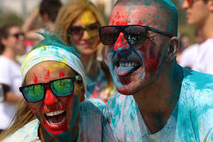 """Hundreds of participants, took part in """"The Color Run"""" known as the happiest 5k in the world at the Yenikapı City Park. After participants finished the race, they celebrated at the finish with a festival, dancing to music and throwing more colors into the air."""